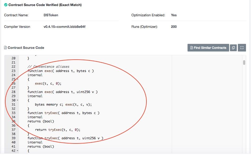 点击Code,可以看到智能合约DSToken的代码