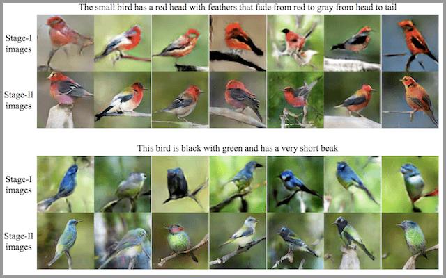 从StackGAN获取鸟类的文本描述和GAN生成照片的示例
