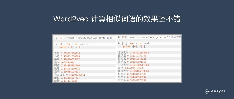 Word2vec在相似度计算上效果不错